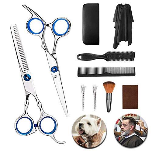 Haarschere Set 9 Stück Professionelle, Effilierschere, Edelstahlschere für kleine Haarscheren, Rasierapparat, Clips, Umhang, Friseurscheren-Scheren-Sets für Zuhause, Salon, Friseur
