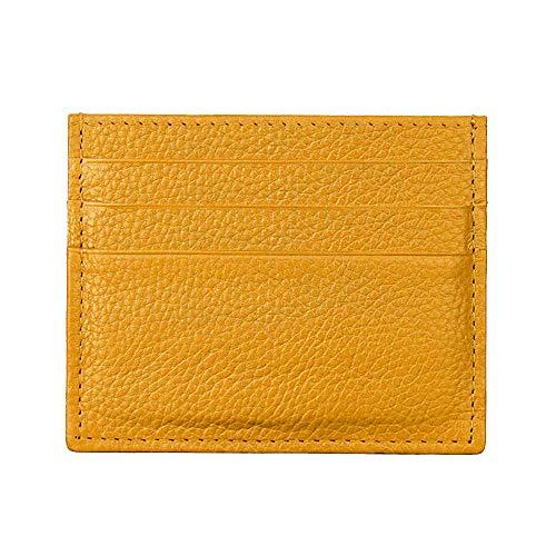 Tarjetero con protección RFID, de la marca Hibate, fino y de cuero auténtico, A1_Yellow (Amarillo) - D034-YEL