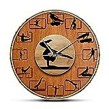 Reloj de pared Gimnasia Grano de Madera Impreso Reloj de Pared...