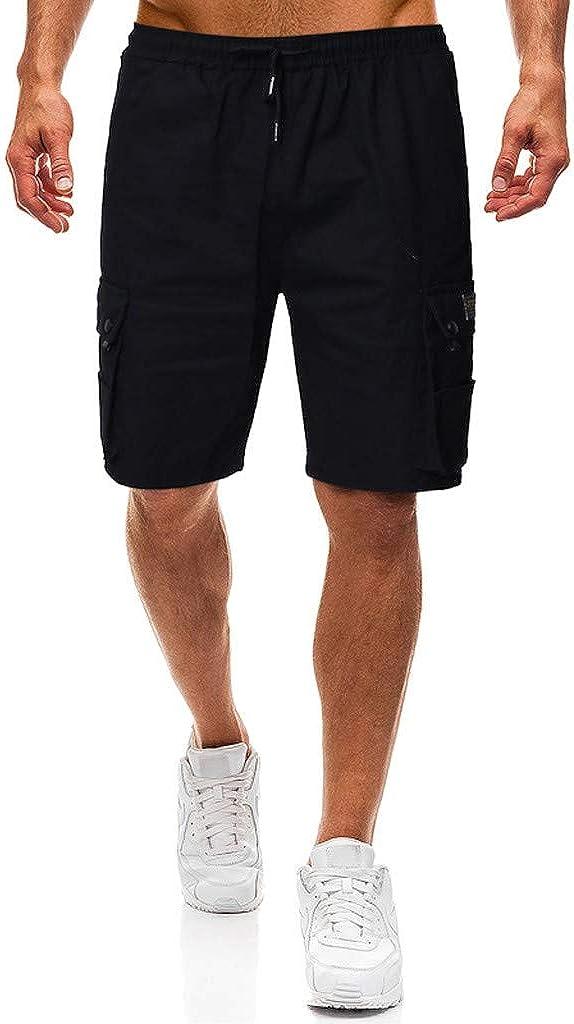 MODOQO Men's Solid Color Cargo Style Board Shorts Slim Fit Lightweight Elastic Waist Shorts