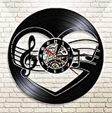 mbbvv Reloj de Pared de Vinilo Reloj de Pared con Disco de Vinilo de Navidad Decoración del hogar Reloj de Tiempo de grabación Artesanía con Corte láser Arte Música Rock Regalos