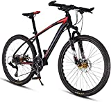 N&I 26Inch 27-Speed Mountain Bikes Dual Disc Brake Hardtail Mountain Bike Mens Women Adult All Terrain Mountain Bike Adjustable Seat Handlebar Red