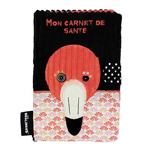 Les Déglingos - Le Flamant Rose - Protège carnet de santé - Fermeture en velcro - Ludique - Cadeau enfant et bébé - Tissu Doux -Peluche - 25 x 18 cm