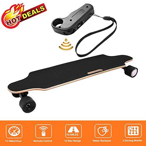 fiugsed Elektrisches Skateboard - 27,5 Zoll Longboard Skateboard mit Funkfernbedienung auf Vier Rädern,Höchstgeschwindigkeit 20km/h zu Senden des Ladegeräts Fernbedienung (Schwarz-Style2)*