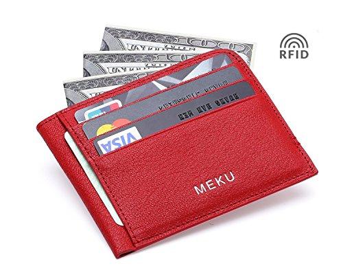 Slim Wallet - Minimalist Front Pocket Wallet - Leather Money Clip Wallet Card Holders RFID Blocking