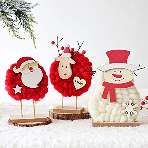 QYQ Fieltro de Lana Muñeco de Nieve de Navidad de Navidad Elk Adornos de Escritorio Lindo Árbol de Navidad Tela Muñeca Colgante para el Dormitorio Sala de Estar Escritorio Ventana (Color : A)
