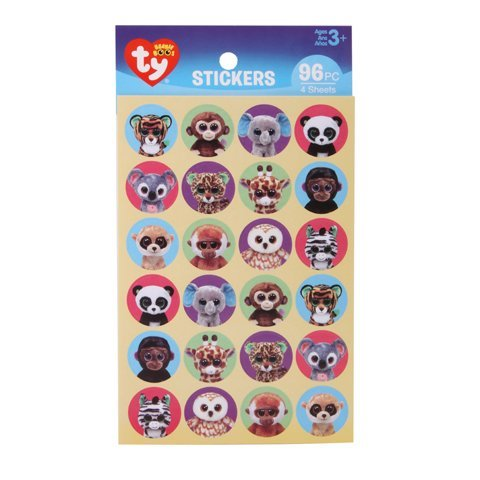 192 Mini TY BEANIE BOOS Stickers JUNGLE Animals (8 Sheets of 24) ZOO Safari ELEPHANT MONKEY Panda Giraffe TEACHER Classroom MOTIVATION STOCKING Stuffers Party Favors