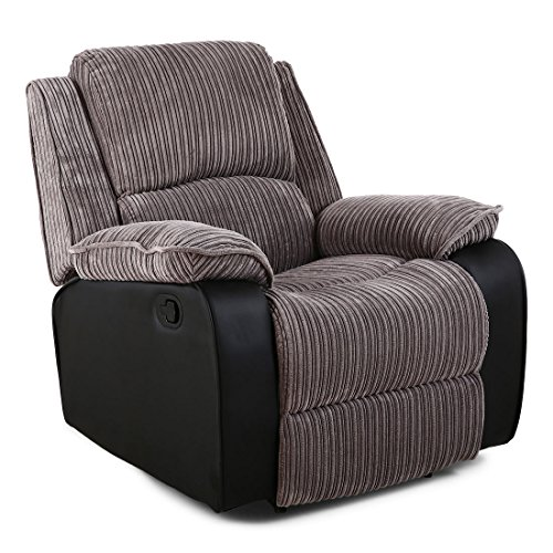 More4Homes POSTANA HIGH BACK JUMBO CORD FABRIC RECLINER 3 + 2 + 1 SOFA ARMCHAIR SET SUITE (Grey, 1 Seater)