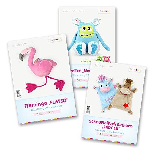 kullaloo Schnittmuster Set: Flamingo Flavio, Einhorn Schnuffeltuch Lady LU und Kuschelmonster MEMO MONSTI