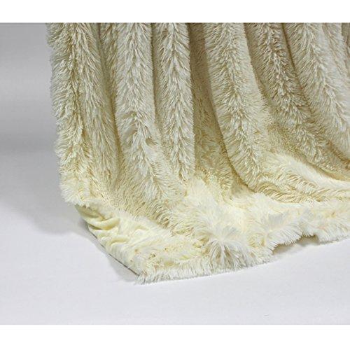 Luxus Kuscheldecke Wohndecke Tagesdecke aus hochwertigem Material, Flokati/creme, ca. 150 cm x 200cm