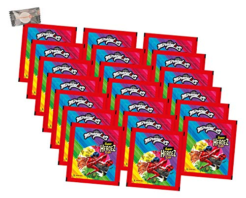Panini Miraculous Ladybug Sticker - Miraculous Super Heroez Team (2021) - 20 Tüten - Miraculous Sammelsticker + stickermarkt24de Gum