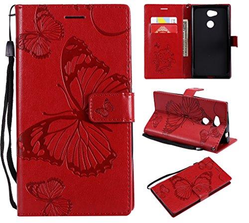Hülle für Sony Xperia L2 Hülle Handyhülle [Standfunktion] [Kartenfach] [Magnetverschluss] Schutzhülle lederhülle flip case für Sony Xperia L2 - DEKT042239 Rot