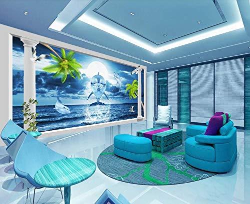 Papel Pintado 3D Columna Romana Sea World Dolphin Fotomurale 3D Tv Telón De Fondo Pared Decorativos Murales Moderna