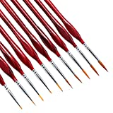 Detail Paint Brushes Set 10pcs Miniature Brushes,Suitable for Acrylic Painting, Oil, Watercolor, Paint by Numbers for Adults。 (Red)
