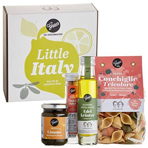 Gepp's Feinkost Little Italy Geschenkbox I Gefüllt mit hausgemachter BIO Pasta & feinsten italienischen Spezialitäten I Gourmet Geschenkidee, zum Geburtstag für Männer & Frauen (A0010)