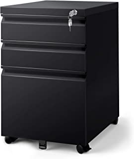 DEVAISE 3 Drawer Mobile File Cabinet with Lock, Fully Assembled Except Casters, Letter/Legal Size, Black