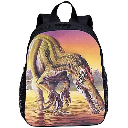 ASFDF Dinosaurier Kinder Schulrucksack Kinder Büchertasche Leichter Rucksack mit Größe Flaschenhalter Reise Daypack Schulranzentasche Cool 13 Zoll Mini