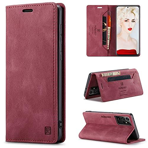 CaseNN Cover per Samsung Galaxy S21 Ultra 5G Custodia Pelle Premium con Porta Carte Fe Portafoglio Magnetica Flip Wallet Case per Donne Uomini Libro Silicone con RFID Blocking - Vino Rosso