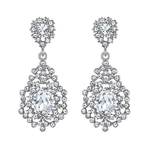 EVER FAITH Damen Ohrringe österreichischen Kristall Art Deco Hohl Prom Floral Drop Braut Ohrhänger Klar Silber-Ton