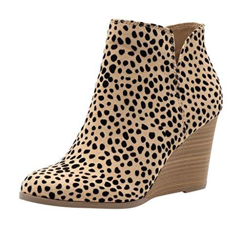 YWLINK Damen Wedge Stiefeletten Der Frauen Mode Leopard Stiefel Herbst FrüHling ReißVerschluss Schuhe MäDchen Wedges Ankle Zipper Short Boots(Gelb,40 EU)