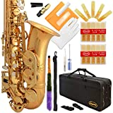 Lazarro Professional Gold Lacquer Eb E-Flat Alto Saxophone Sax with Case, 21 Reeds, Many Extras~Ready to Play~360-LQ-PRO