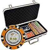 CROWN - Maletín premium de 300 fichas de poker Versión Cash...