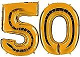 PartyMarty Ballon Zahl 50 in Gold - XXL Riesenzahl 100cm - zum 50. Geburtstag - Party Geschenk Dekoration Folienballon Luftballon Happy Birthday GmbH®