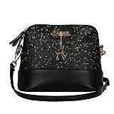 Dragon868 Elegante Umhängetasche aus Leder | Arbeit Büro Clutch Damentasche Crossbody Damenhandtasche Freizeit Gurt Handtasche Rucksack Schule (Schwarz)