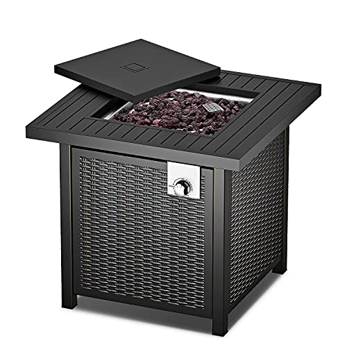 28' Fire Table, Propane Fire Pit Table with Anti-Corrosion Coating, 50000 BTU Auto-Ignition, Gas Fire Pit Table with Lid, ,Intelligent Control, 2-in-1 Fire Pit Table for Courtyard/Patio/Balcony