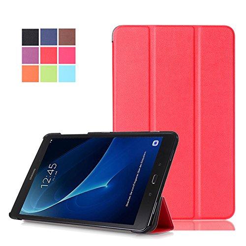 Hülle für Galaxy Tab A T580N,Samsung Tab A 10.1 Zoll Tasche,PU Leder Schutzhülle Smart Hülle Stand Folio Cover Hülle für Samsung Galaxy Tab A 10.1 Zoll Wi-Fi/LTE (2016) SM-T580N/SM-T585N Tablet,Rot