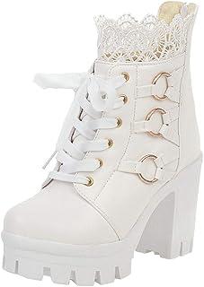 Stivali Moda Inverno Pizzo Scarpe da Donna con Tacco Alto in Puro Colore