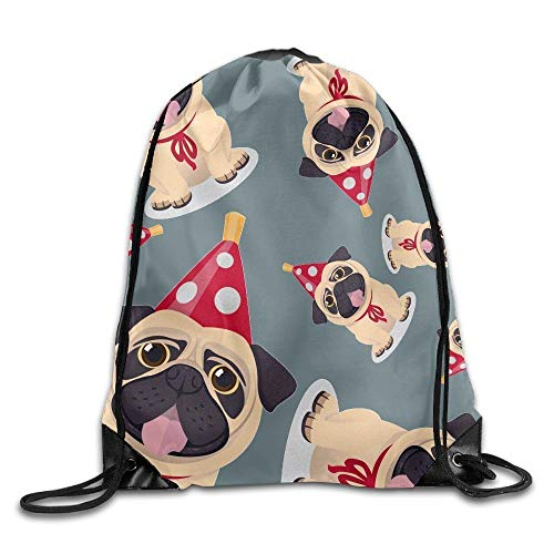 uykjuykj Tunnelzug Rucksäcke, Christmas Pug Unisex Sack Cinch Backpack Sport Drawstring Bags. Lightweight Unique 17x14 IN