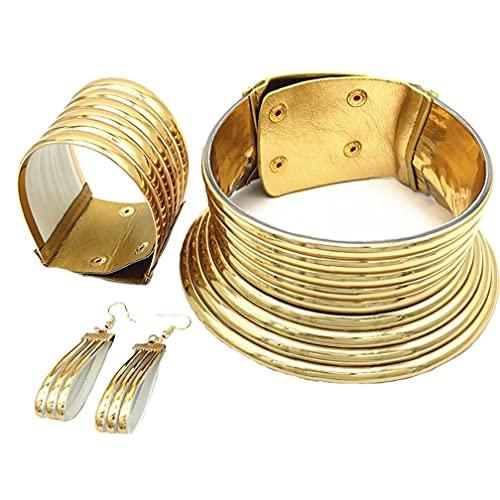 TOSSPER 1 Juego De África del Collar del Collar Étnico Collar De Joyería Gótica Conjunto Oro