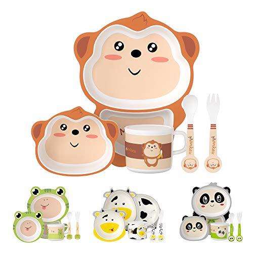H HOMEWINS - Vajilla infantil de 5 piezas, linda forma de MONO, juego de vajilla infantil de bambú ecológico para bebés a partir de 6 meses, apto para lavavajillas, cuenco, taza, cuchara y tenedor