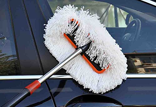 BMDHA Autowaschbürste Langen Griff Teleskopisch Polyester Baumwolle Weicher Pinsel Wird Autofarbe Nicht Verletzen 98-155 cm