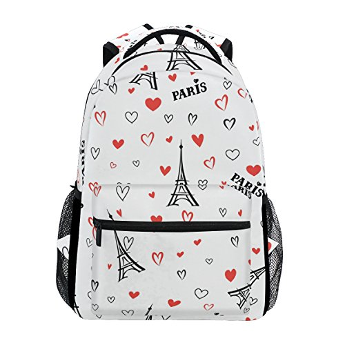 TIZORAX Romantischer Frankreich Paris Eiffelturm Liebe Herzen Rucksack Schule College Tasche Büchertasche Wandern Reisen Rucksack für Damen Herren