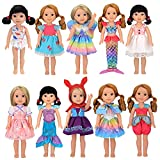 XADP 10 Sets Doll Clothes Dresses Clothing Outfits with Hat Fits for American Girl Wellie Wishers Doll,14' and 14.5' Girl Dolls, Mermaid Clothes