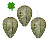 Outward Creations Wasp Nest Decoy - 3 Pack - Hanging Wasp Repellent and Deterrent- Safe Fake Trap