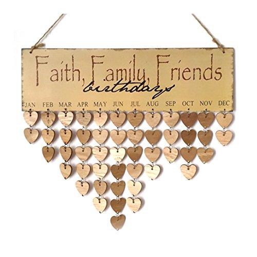 Ultnice - Suspension rappel d'anniversaire en bois, calendrier Faith, Family, Friends