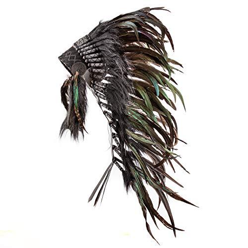 Pink Pineapple Indianer Kopfschmuck- Warbonnet - Federhaube handgefertigt im traditionellen Stil Nordamerikanischer Indianer Kostüm - Accessoires angelehnt an das traditionell Amerikanische Schwarz