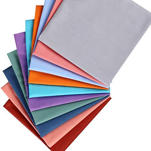 10 Piezas Telas de Algodón de Color Sólido de 20 x 20 Pulgadas Paquetes de Tela Acolchada Colorida DIY Telas de Patchwork de Cuadrado Paquete Artesanal Sólida para Manualidades de Tela DIY