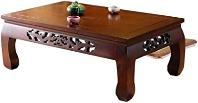 RANRANJJ Table Solid Wood Bay Window Table Small Tea Table Tatami Table Low Table Old Elm Small Tea Table Coffee Table (Size : 50 * 40 * 25cm)