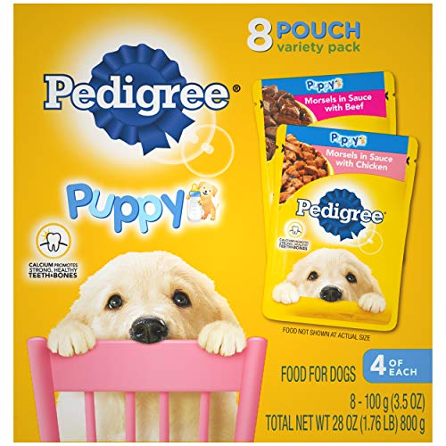 PEDIGREE CHOICE CUTS Puppy Soft Wet Meaty Dog Food Morsels in Sauce With Chicken and With Beef Variety Pack, (16) 3.5 oz. Pouches