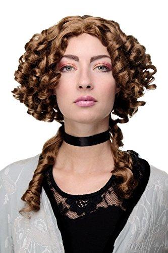 WIG ME UP - Perruque de qualité dame Antiquité Renaissance & Baroque boucles anglaises tresses raie centrale brune 9036-30