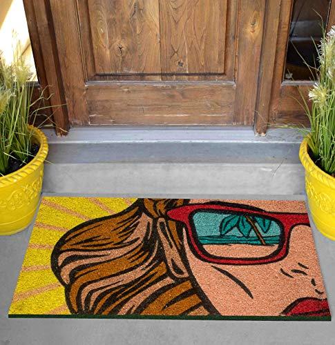 Felpudo de exterior de coco con base de PVC pintado a mano, diseño Pop Art Beach 60 x 40 x 2 cm. Fácil de limpiar y ultrarresistente
