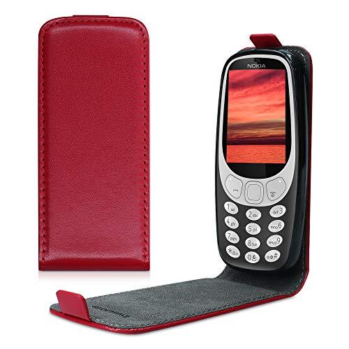 kwmobile Cover Compatibile con Nokia 3310 3G 2017 / 4G 2018 - Custodia Verticale Flip Case in Simil Pelle - con Linguetta calamita