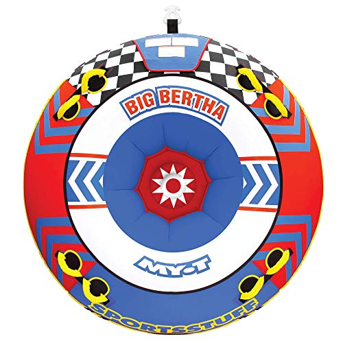 SportsStuff Big Bertha | 1-4 Rider Towable Tube for Boating, Yellow, Red, Blue, Dimensions = inflated (68in) deflated (74in)