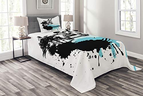 ABAKUHAUS Grunge Tagesdecke Set, Junge Junge Skater Exotic, Set mit Kissenbezug Sommerdecke, für Einzelbetten 170 x 220 cm, Schwarzes, helles Blau