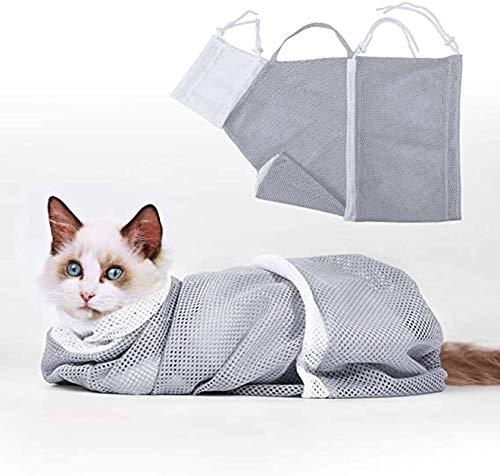 OQSM Multifunktionale Fellpflege-Badetasche für Katzen und Hunde, Grau