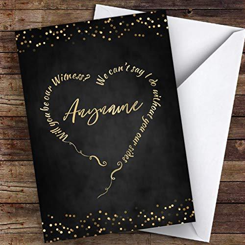 Tekst hart krijt lichten zal je mijn getuige gepersonaliseerde groeten trouwkaart